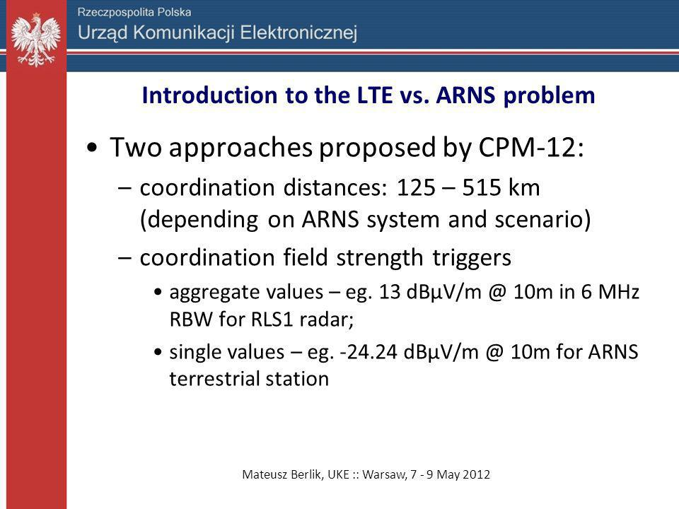 Mateusz Berlik, UKE :: Warsaw, 7 - 9 May 2012 Introduction to the LTE vs. ARNS problem Two approaches proposed by CPM-12: –coordination distances: 125