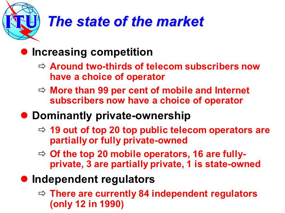 The state of the market Increasing competition Around two-thirds of telecom subscribers now have a choice of operator More than 99 per cent of mobile