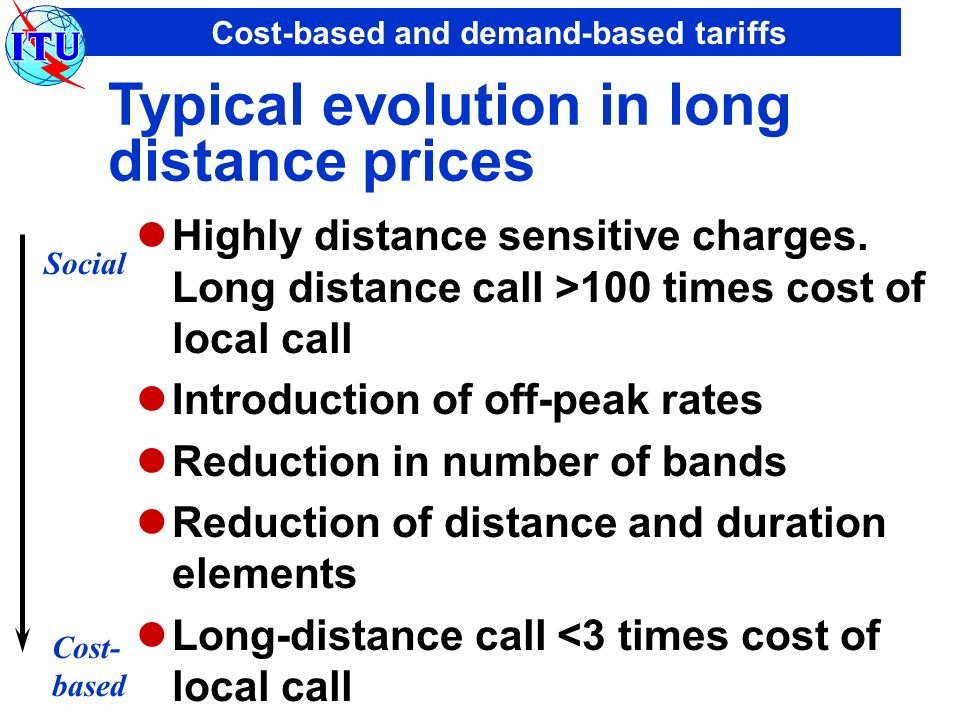 Cost-based and demand-based tariffs Typical evolution in long distance prices Highly distance sensitive charges. Long distance call >100 times cost of