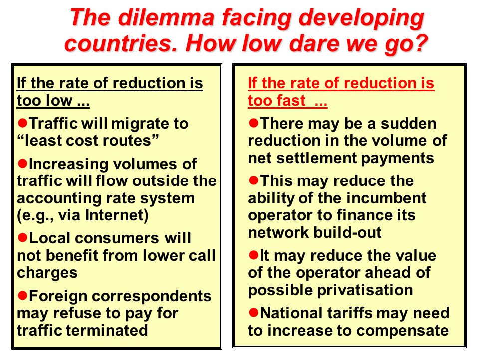 The dilemma facing developing countries. How low dare we go? If the rate of reduction is too low... Traffic will migrate to least cost routes Increasi