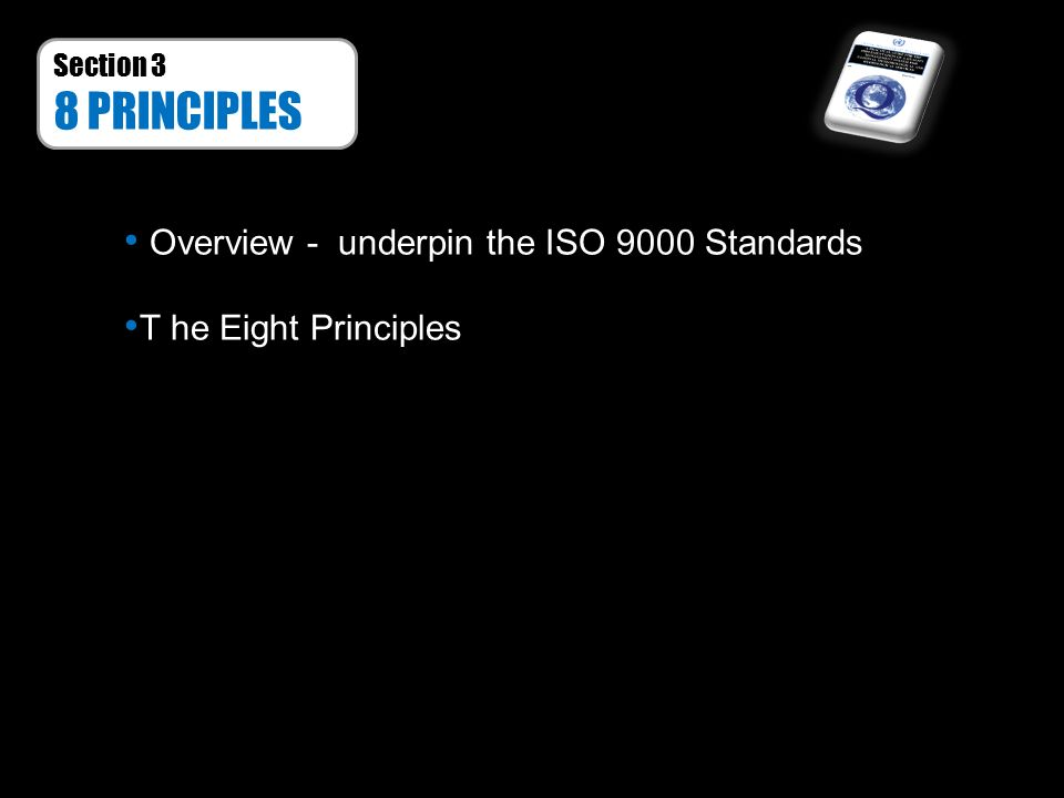 Section 3 8 PRINCIPLES Overview - underpin the ISO 9000 Standards T he Eight Principles