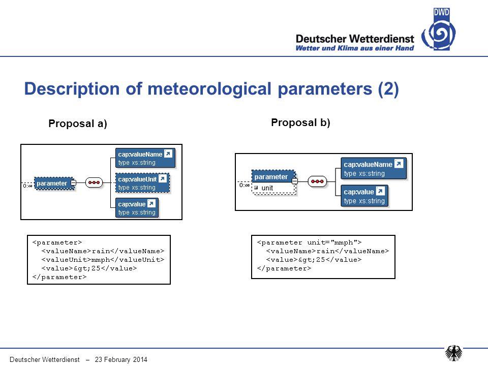 Deutscher Wetterdienst – 23 February 2014 Description of meteorological parameters (2) Proposal b) Proposal a)