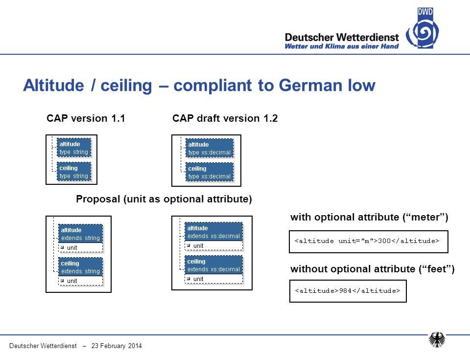 Deutscher Wetterdienst – 23 February 2014 Altitude / ceiling – compliant to German low CAP version 1.1CAP draft version 1.2 Proposal (unit as optional