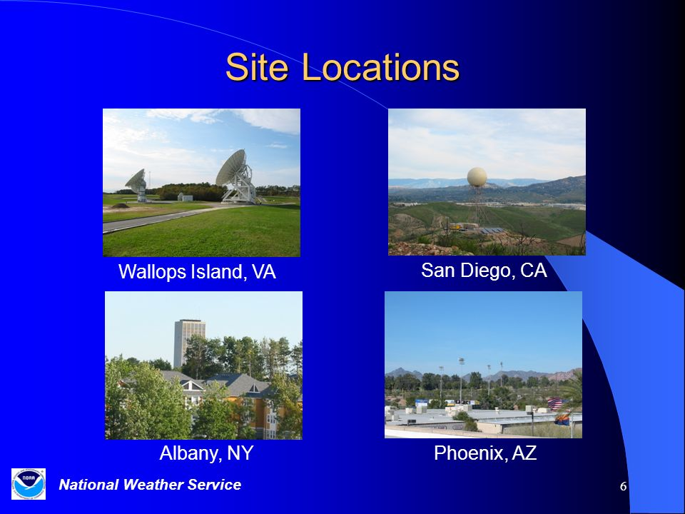National Weather Service 6 Site Locations Wallops Island, VA San Diego, CA Albany, NYPhoenix, AZ
