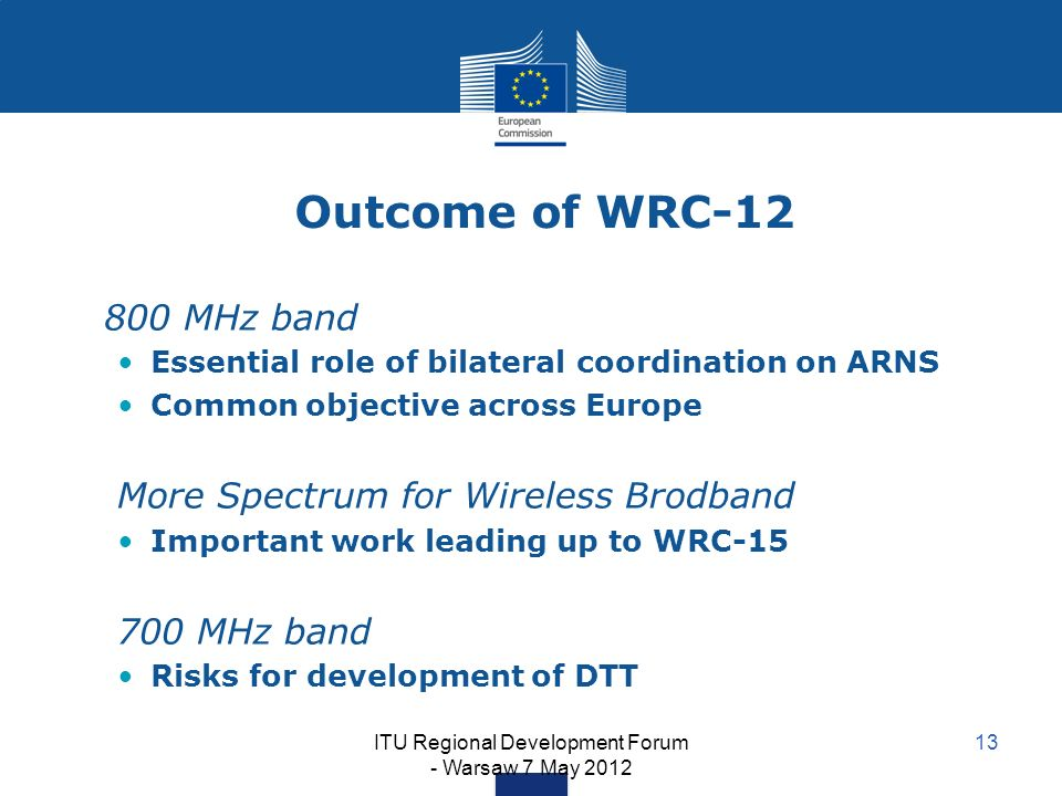 ITU Regional Development Forum - Warsaw 7 May 2012 13 Outcome of WRC-12 800 MHz band Essential role of bilateral coordination on ARNS Common objective across Europe More Spectrum for Wireless Brodband Important work leading up to WRC-15 700 MHz band Risks for development of DTT