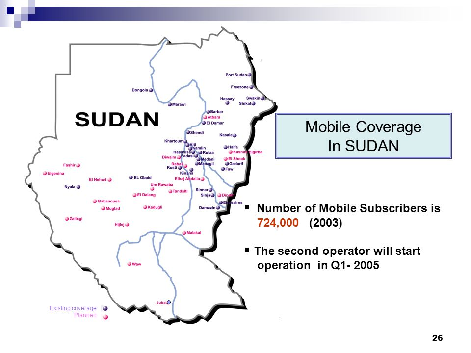 26 Existing coverage Planned Mobile Coverage In SUDAN Number of Mobile Subscribers is 724,000 (2003) The second operator will start operation in Q