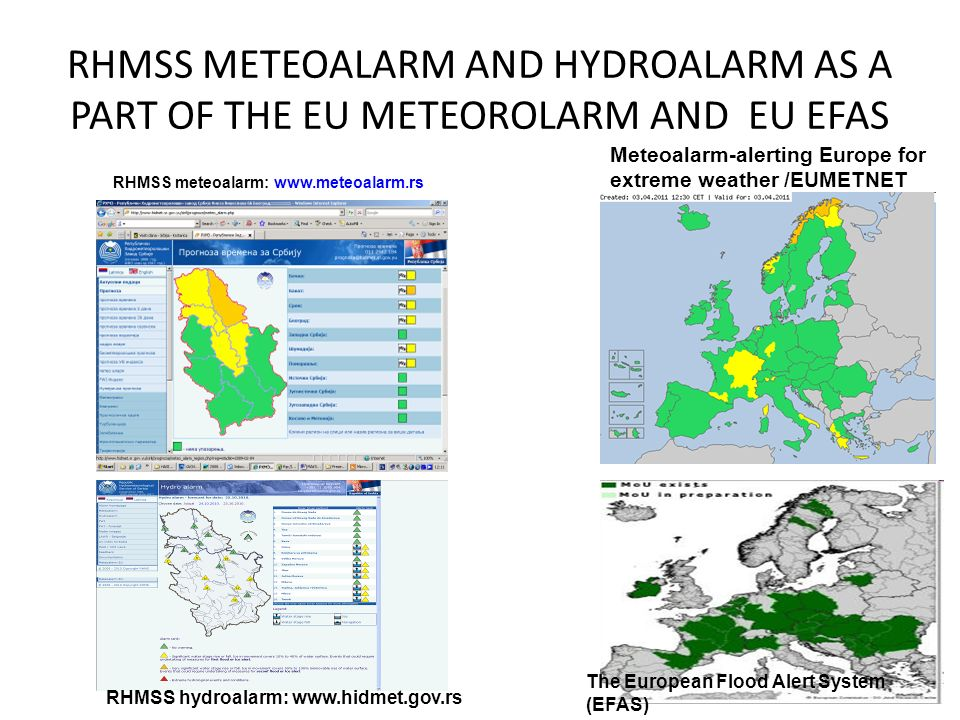RHMSS METEOALARM AND HYDROALARM AS A PART OF THE EU METEOROLARM AND EU EFAS RHMSS meteoalarm: www.meteoalarm.rs Meteoalarm-alerting Europe for extreme weather /EUMETNET The European Flood Alert System (EFAS) RHMSS hydroalarm: www.hidmet.gov.rs