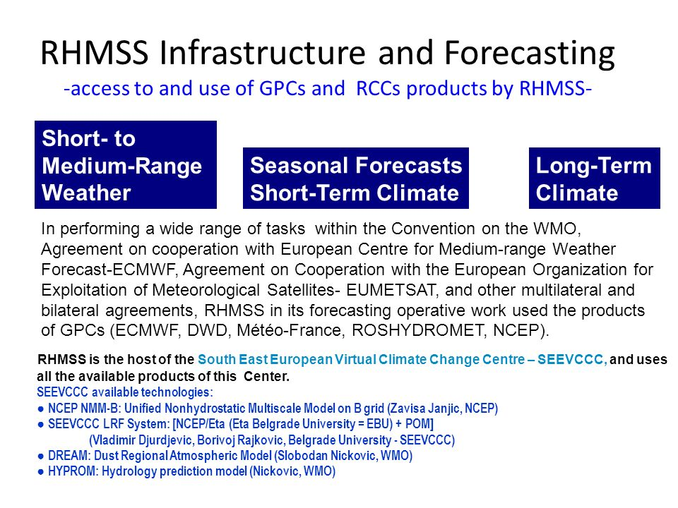 RHMSS Infrastructure and Forecasting -access to and use of GPCs and RCCs products by RHMSS- Short- to Medium-Range Weather Seasonal Forecasts Short-Term Climate Long-Term Climate In performing a wide range of tasks within the Convention on the WMO, Agreement on cooperation with European Centre for Medium-range Weather Forecast-ECMWF, Agreement on Cooperation with the European Organization for Exploitation of Meteorological Satellites- EUMETSAT, and other multilateral and bilateral agreements, RHMSS in its forecasting operative work used the products of GPCs (ECMWF, DWD, Météo-France, ROSHYDROMET, NCEP).