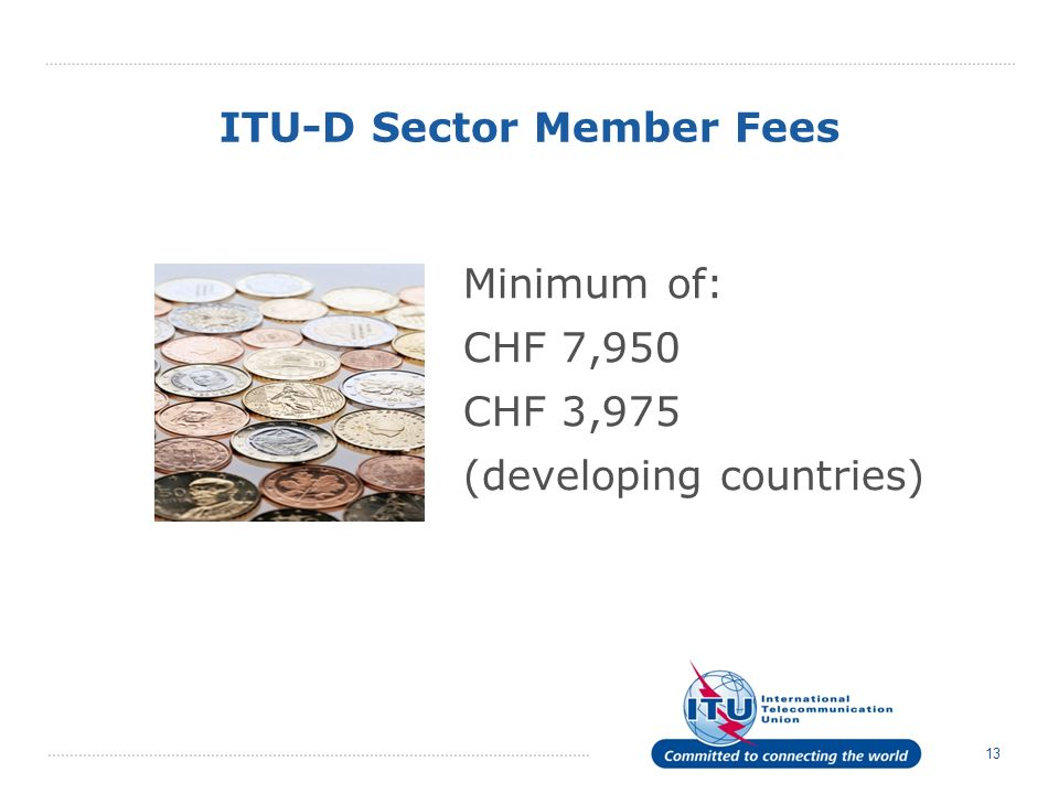 13 ITU-D Sector Member Fees Minimum of: CHF 7,950 CHF 3,975 (developing countries)