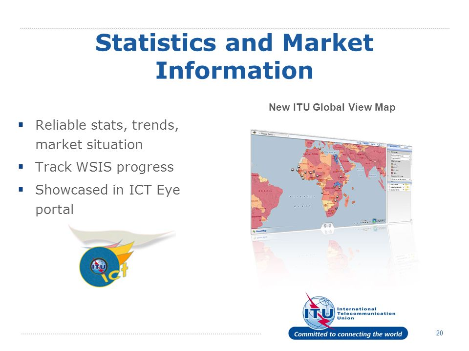 20 Statistics and Market Information Reliable stats, trends, market situation Track WSIS progress Showcased in ICT Eye portal New ITU Global View Map