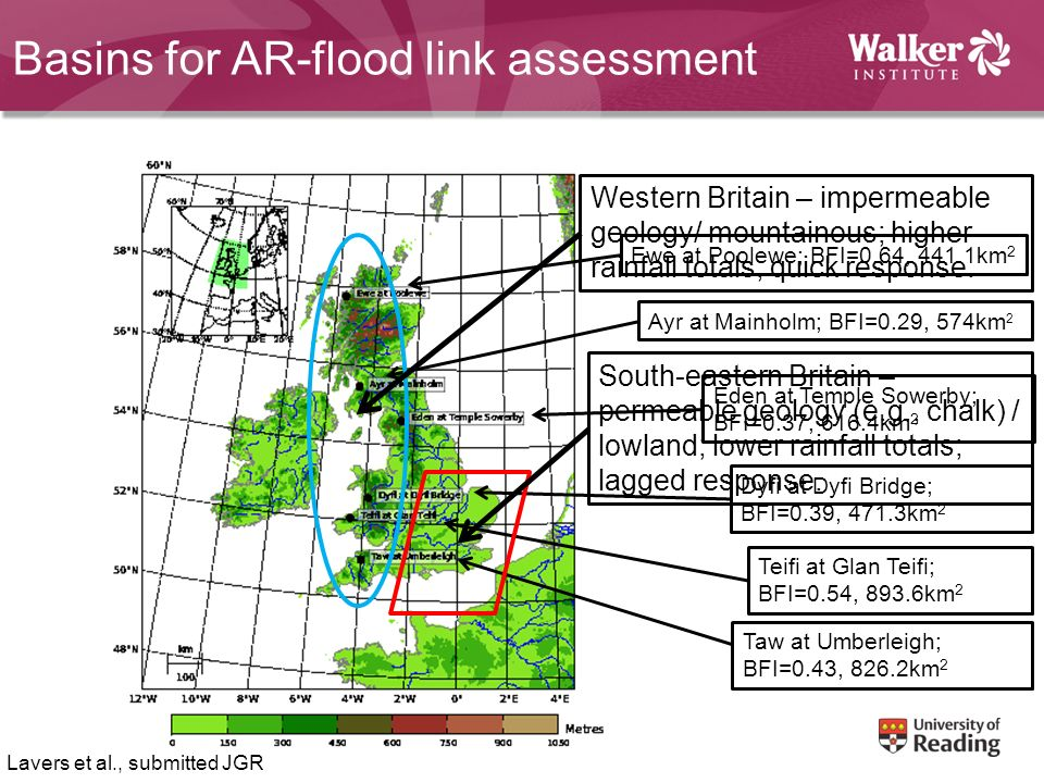 Basins for AR-flood link assessment Ewe at Poolewe; BFI=0.64, 441.1km 2 Ayr at Mainholm; BFI=0.29, 574km 2 Eden at Temple Sowerby; BFI=0.37, 616.4km 2 Dyfi at Dyfi Bridge; BFI=0.39, 471.3km 2 Teifi at Glan Teifi; BFI=0.54, 893.6km 2 Taw at Umberleigh; BFI=0.43, 826.2km 2 Lavers et al., submitted JGR Western Britain – impermeable geology/ mountainous; higher rainfall totals; quick response.