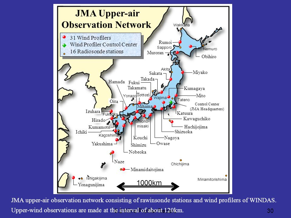 6.2 Wind Profiler Radars30 JMA upper-air observation network consisting of rawinsonde stations and wind profilers of WINDAS. Upper-wind observations a