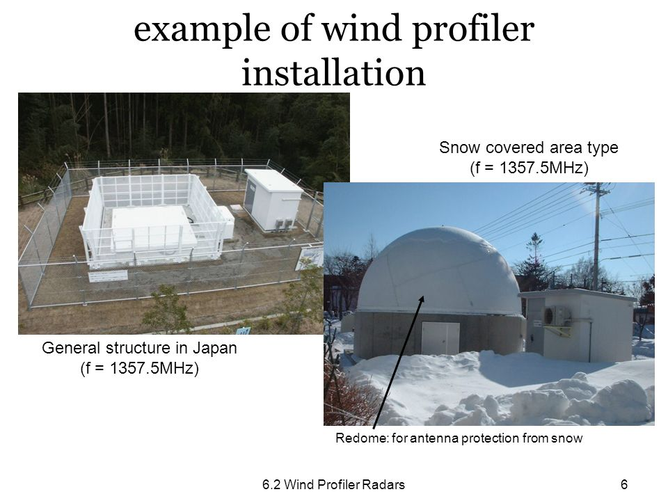 6.2 Wind Profiler Radars6 example of wind profiler installation General structure in Japan (f = 1357.5MHz) Snow covered area type (f = 1357.5MHz) Redo