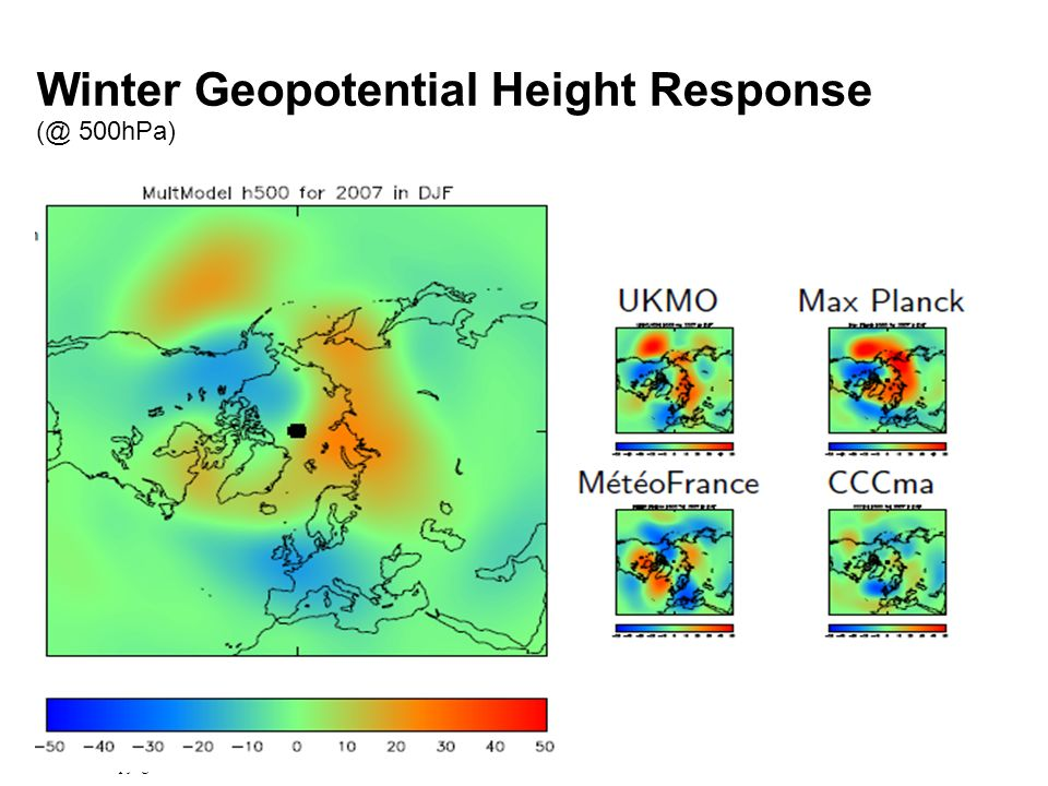 © Crown copyright Met Office Winter Geopotential Height Response 500hPa)