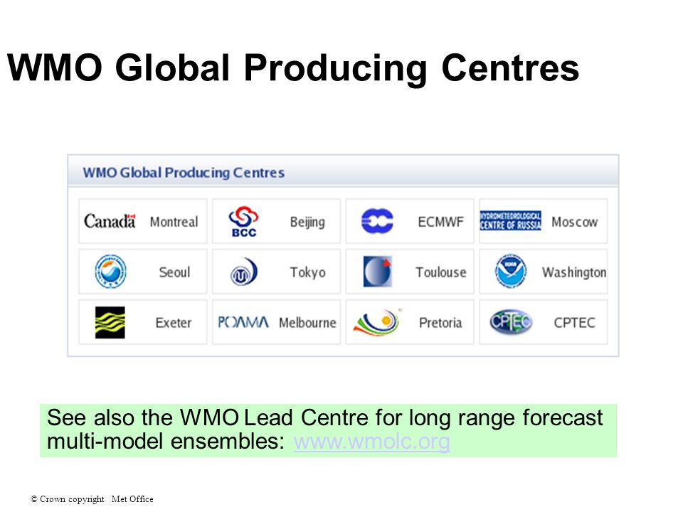 © Crown copyright Met Office WMO Global Producing Centres See also the WMO Lead Centre for long range forecast multi-model ensembles: www.wmolc.orgwww.wmolc.org