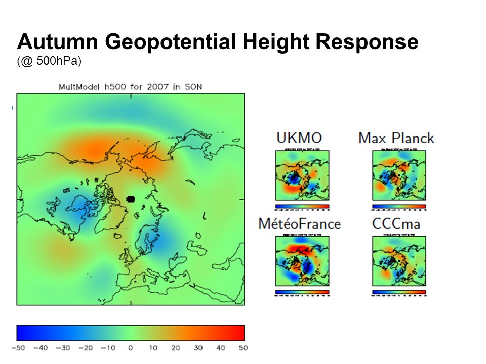 © Crown copyright Met Office Autumn Geopotential Height Response (@ 500hPa)