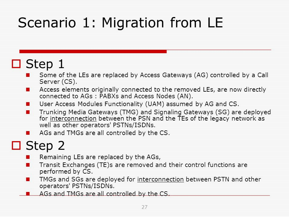 Scenario 1: Migration from LE Step 1 Some of the LEs are replaced by Access Gateways (AG) controlled by a Call Server (CS). Access elements originally