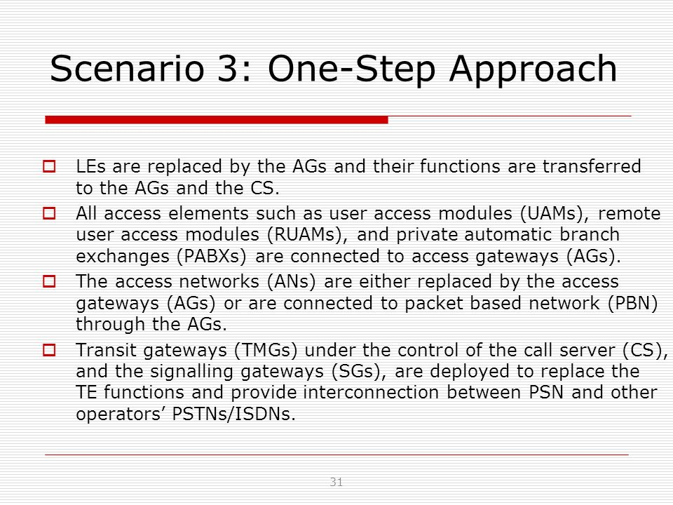 Scenario 3: One-Step Approach LEs are replaced by the AGs and their functions are transferred to the AGs and the CS. All access elements such as user