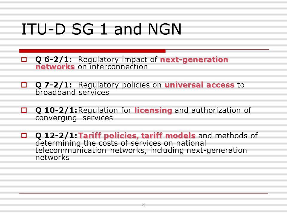 ITU-D SG 1 and NGN next-generation networks Q 6-2/1: Regulatory impact of next-generation networks on interconnection universal access Q 7-2/1: Regula