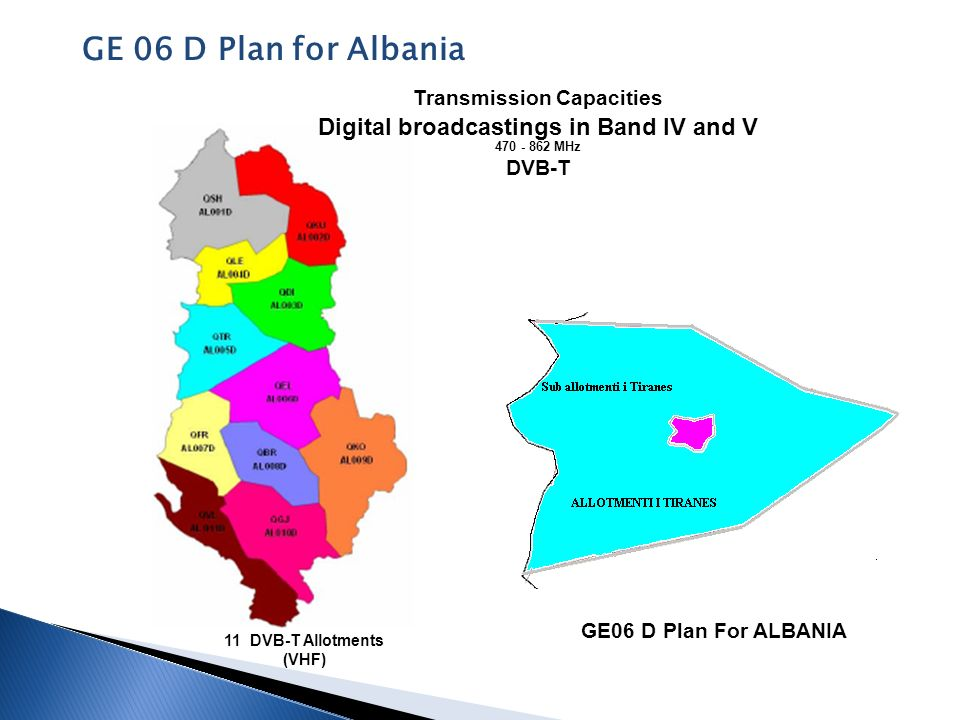 Kapacitetet transmetues GE06 D Plan For ALBANIA Digital broadcastings in Band IV and V 470 - 862 MHz DVB-T 11 DVB-T Allotments (VHF) Transmission Capa