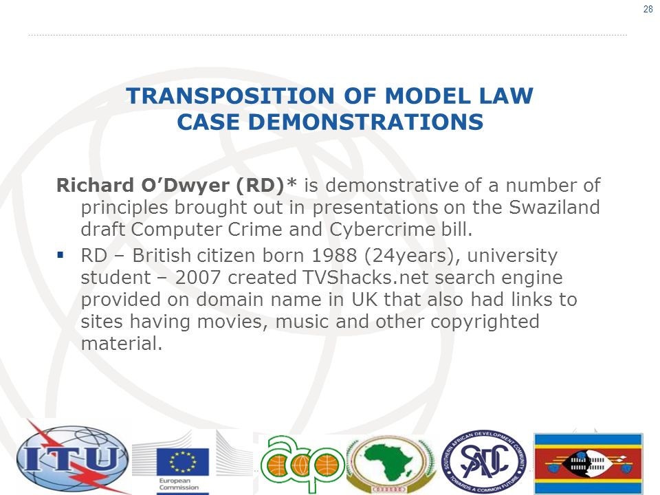 TRANSPOSITION OF MODEL LAW CASE DEMONSTRATIONS Richard ODwyer (RD)* is demonstrative of a number of principles brought out in presentations on the Swa