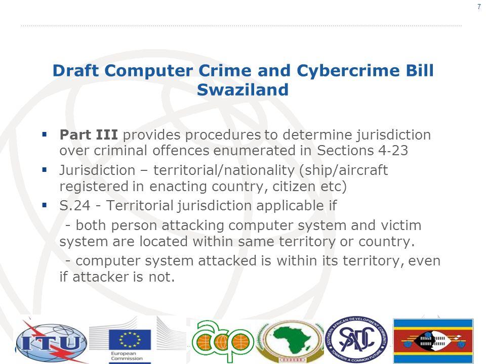 Draft Computer Crime and Cybercrime Bill Swaziland PART V.LIABILITY 34.No Monitoring Obligation 35.Access Provider 36.Hosting Provider 37.Caching Provider 38.Hyperlinks Provider 39.Search Engine Provider 18