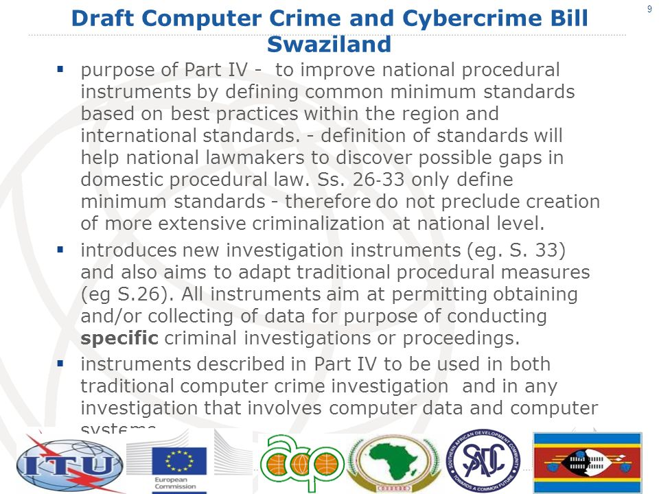 Draft Computer Crime and Cybercrime Bill Swaziland Part V Liability (Service Providers) defines limitations of liability of Internet service providers.
