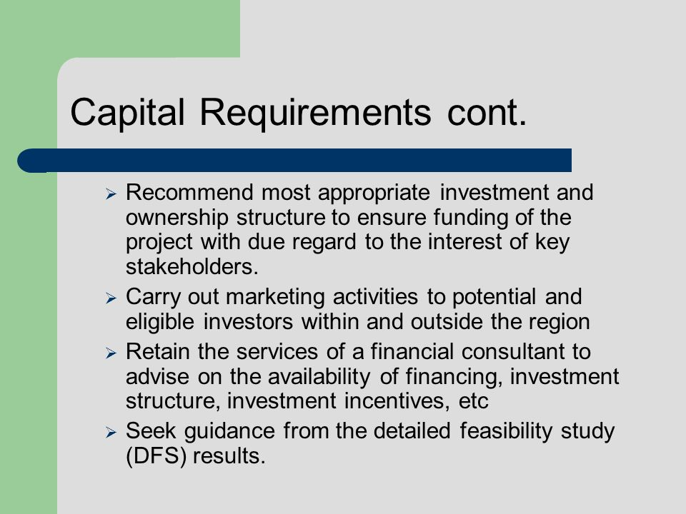 Capital Requirements cont. Recommend most appropriate investment and ownership structure to ensure funding of the project with due regard to the inter