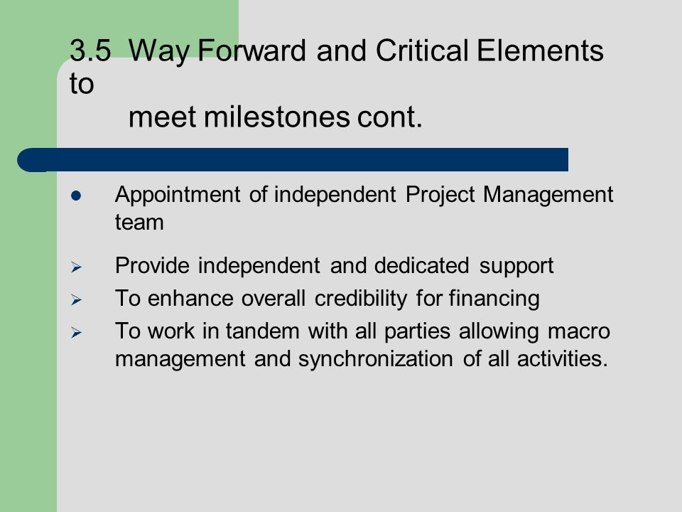 3.5 Way Forward and Critical Elements to meet milestones cont. Appointment of independent Project Management team Provide independent and dedicated su