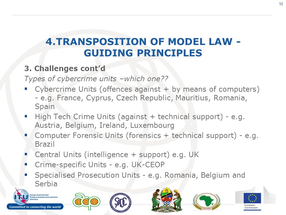 4.TRANSPOSITION OF MODEL LAW - GUIDING PRINCIPLES 3. Challenges contd Types of cybercrime units –which one?? Cybercrime Units (offences against + by m