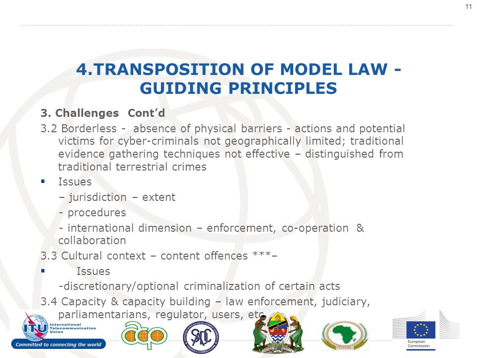 4.TRANSPOSITION OF MODEL LAW - GUIDING PRINCIPLES 3. Challenges Contd 3.2 Borderless - absence of physical barriers - actions and potential victims fo