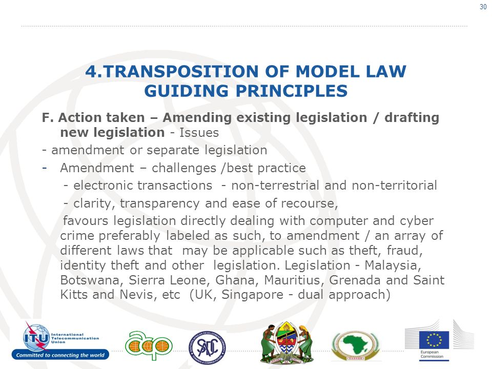 4.TRANSPOSITION OF MODEL LAW GUIDING PRINCIPLES F. Action taken – Amending existing legislation / drafting new legislation - Issues - amendment or sep