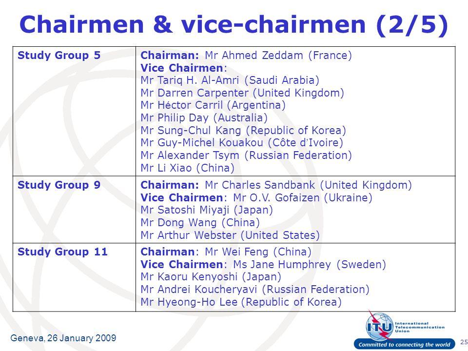 25 Geneva, 26 January 2009 Chairmen & vice-chairmen (2/5) Study Group 5Chairman:Mr Ahmed Zeddam (France) Vice Chairmen: Mr Tariq H.