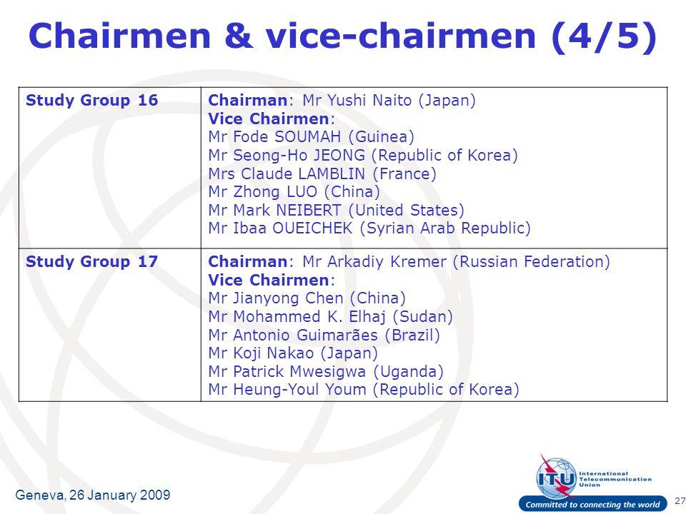 27 Geneva, 26 January 2009 Chairmen & vice-chairmen (4/5) Study Group 16Chairman:Mr Yushi Naito (Japan) Vice Chairmen: Mr Fode SOUMAH (Guinea) Mr Seon