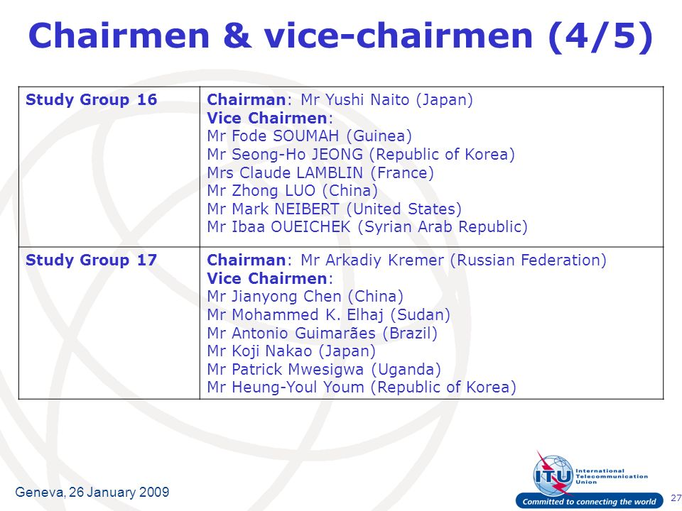 27 Geneva, 26 January 2009 Chairmen & vice-chairmen (4/5) Study Group 16Chairman:Mr Yushi Naito (Japan) Vice Chairmen: Mr Fode SOUMAH (Guinea) Mr Seong-Ho JEONG (Republic of Korea) Mrs Claude LAMBLIN (France) Mr Zhong LUO (China) Mr Mark NEIBERT (United States) Mr Ibaa OUEICHEK (Syrian Arab Republic) Study Group 17Chairman:Mr Arkadiy Kremer (Russian Federation) Vice Chairmen: Mr Jianyong Chen (China) Mr Mohammed K.