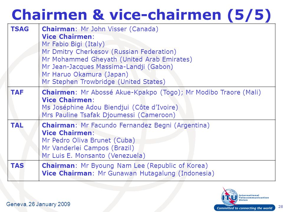 28 Geneva, 26 January 2009 Chairmen & vice-chairmen (5/5) TSAGChairman:Mr John Visser (Canada) Vice Chairmen: Mr Fabio Bigi (Italy) Mr Dmitry Cherkesov (Russian Federation) Mr Mohammed Gheyath (United Arab Emirates) Mr Jean-Jacques Massima-Landji (Gabon) Mr Haruo Okamura (Japan) Mr Stephen Trowbridge (United States) TAFChairmen: Mr Abossé Akue-Kpakpo (Togo); Mr Modibo Traore (Mali) Vice Chairmen: Ms Joséphine Adou Biendjui (Côte dIvoire) Mrs Pauline Tsafak Djoumessi (Cameroon) TALChairman:Mr Facundo Fernandez Begni (Argentina) Vice Chairmen: Mr Pedro Oliva Brunet (Cuba) Mr Vanderlei Campos (Brazil) Mr Luis E.