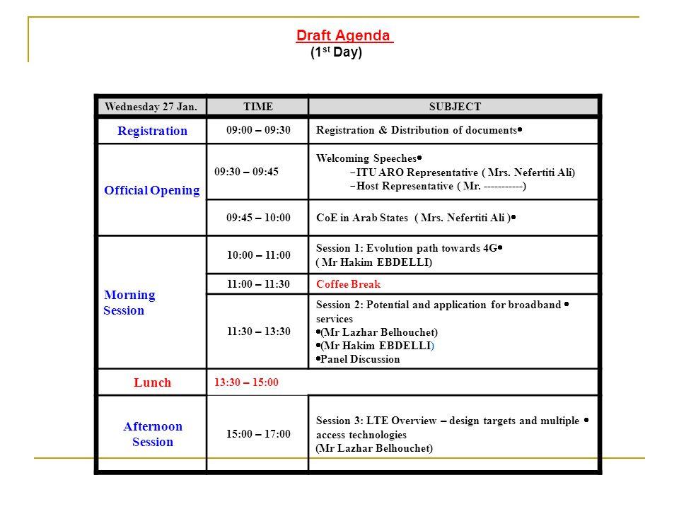Draft Agenda (1 st Day) SUBJECTTIMEWednesday 27 Jan. Registration & Distribution of documents 09:00 – 09:30 Registration Welcoming Speeches - ITU ARO