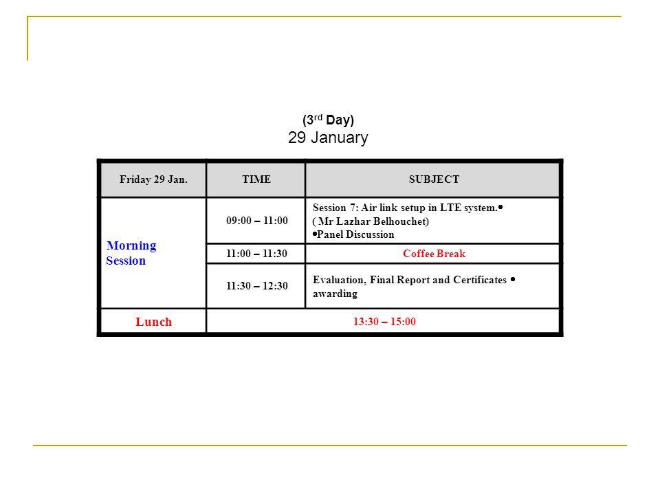 (3 rd Day) 29 January SUBJECTTIMEFriday 29 Jan. Session 7: Air link setup in LTE system. ( Mr Lazhar Belhouchet) Panel Discussion 09:00 – 11:00 Mornin