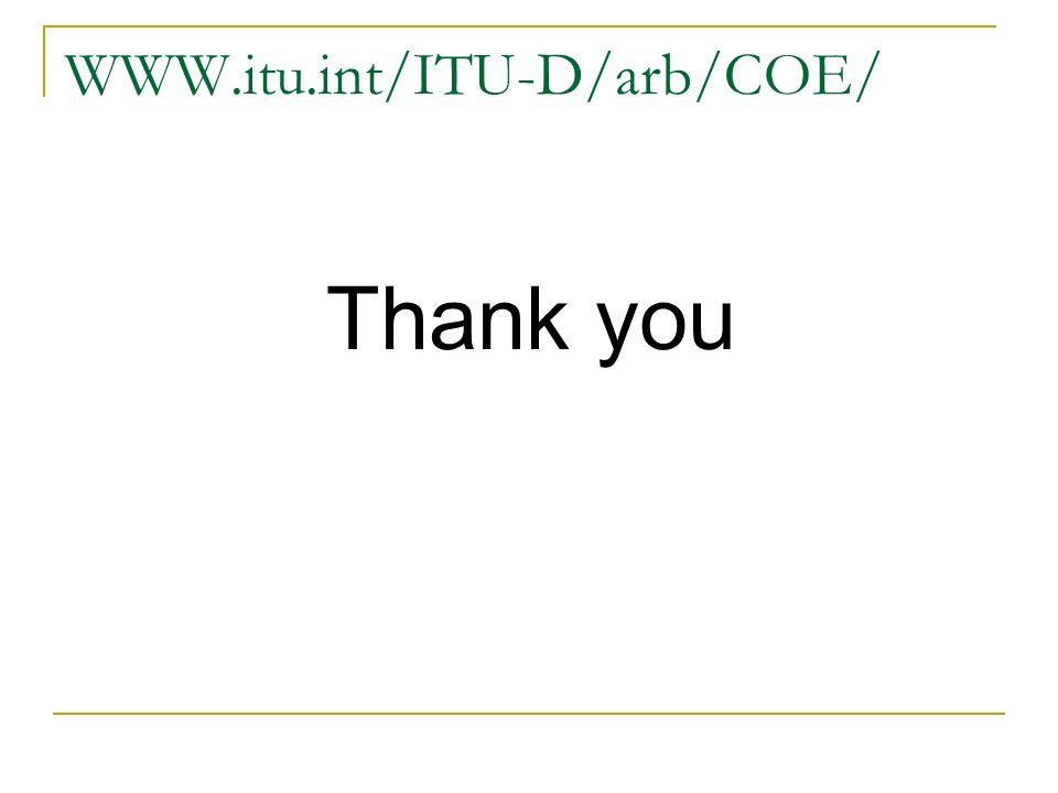 WWW.itu.int/ITU-D/arb/COE/ Thank you