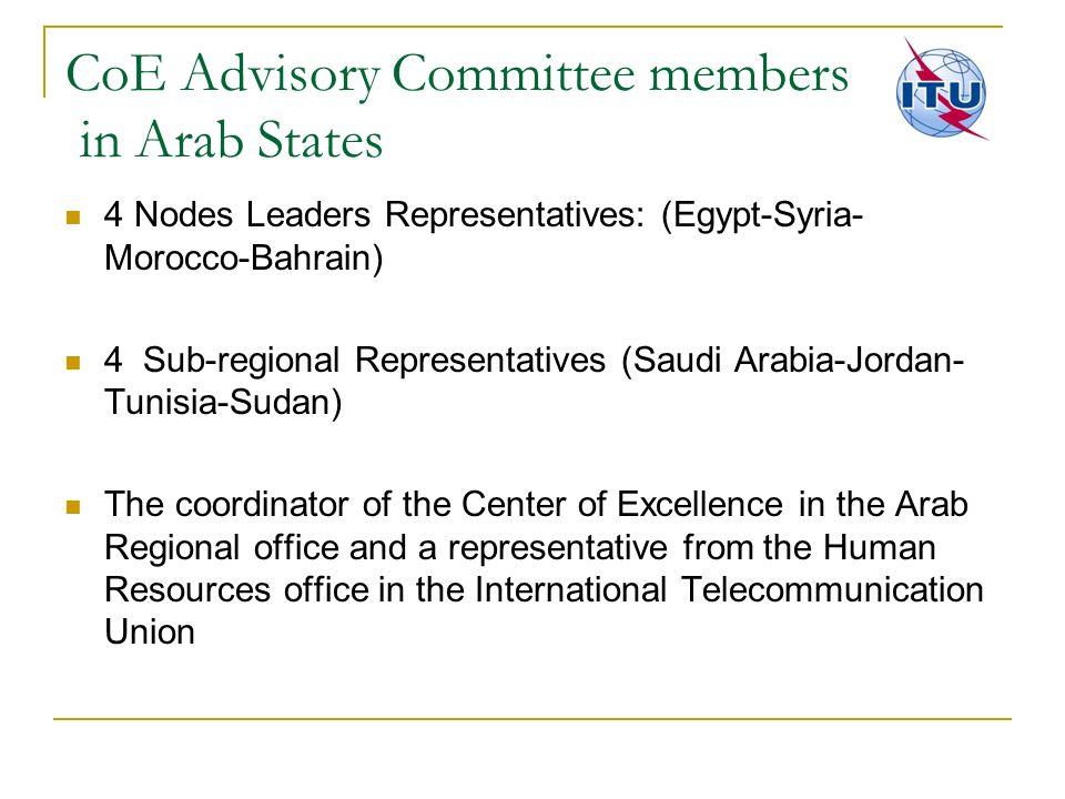CoE Advisory Committee members in Arab States 4 Nodes Leaders Representatives: (Egypt-Syria- Morocco-Bahrain) 4 Sub-regional Representatives (Saudi Ar