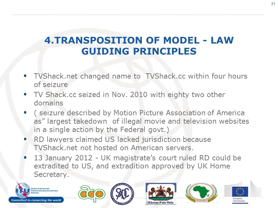 4.TRANSPOSITION OF MODEL - LAW GUIDING PRINCIPLES TVShack.net changed name to TVShack.cc within four hours of seizure TV Shack.cc seized in Nov.