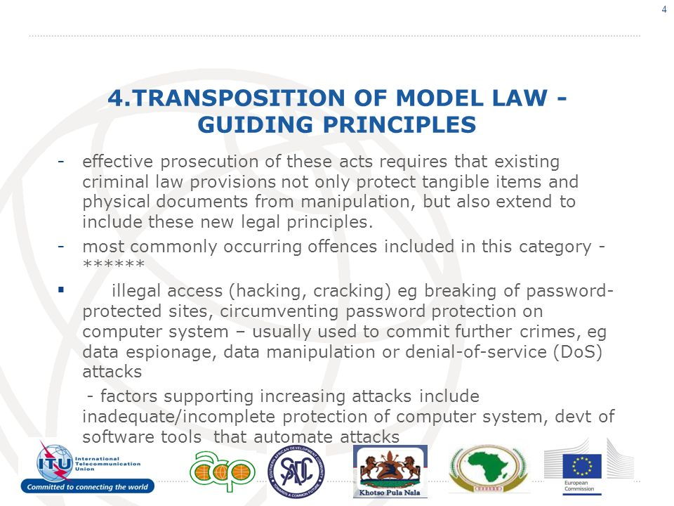 4.TRANSPOSITION OF MODEL LAW - GUIDING PRINCIPLES - effective prosecution of these acts requires that existing criminal law provisions not only protect tangible items and physical documents from manipulation, but also extend to include these new legal principles.