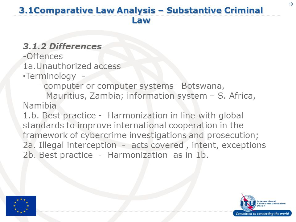 10 3.1Comparative Law Analysis – Substantive Criminal Law 3.1.2 Differences -Offences 1a.Unauthorized access Terminology - - computer or computer systems –Botswana, Mauritius, Zambia; information system – S.