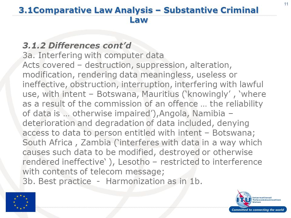 11 3.1Comparative Law Analysis – Substantive Criminal Law 3.1.2 Differences contd 3a.