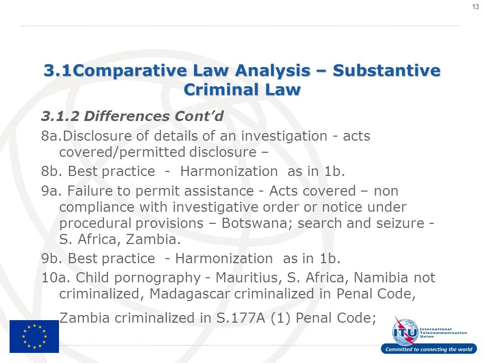 3.1Comparative Law Analysis – Substantive Criminal Law 3.1.2 Differences Contd 8a.Disclosure of details of an investigation - acts covered/permitted d