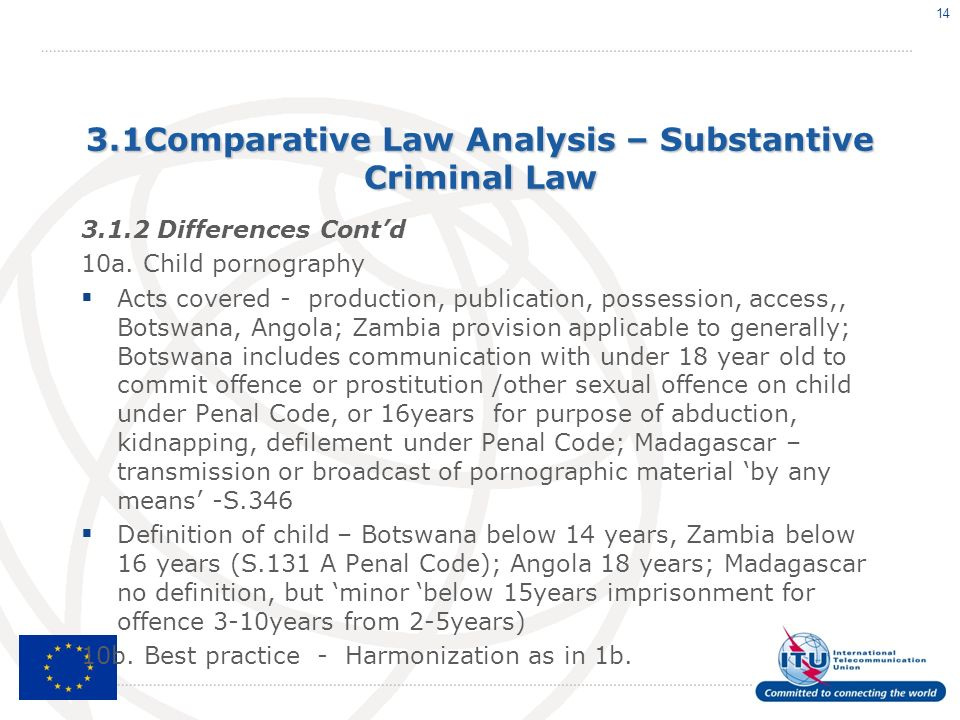 3.1Comparative Law Analysis – Substantive Criminal Law 3.1.2 Differences Contd 10a. Child pornography Acts covered - production, publication, possessi