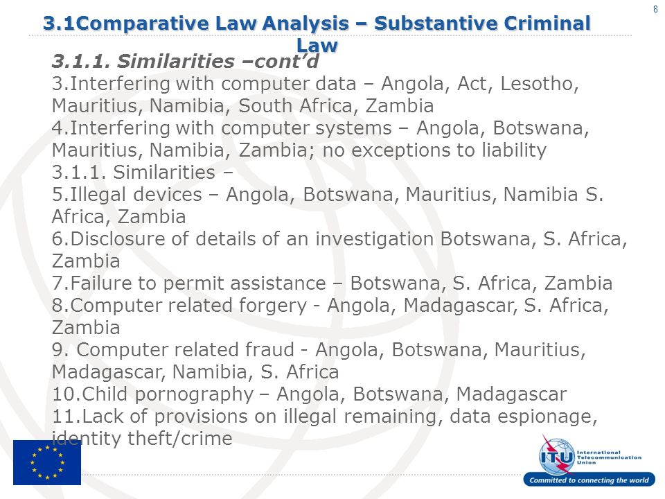 8 3.1Comparative Law Analysis – Substantive Criminal Law 3.1.1.