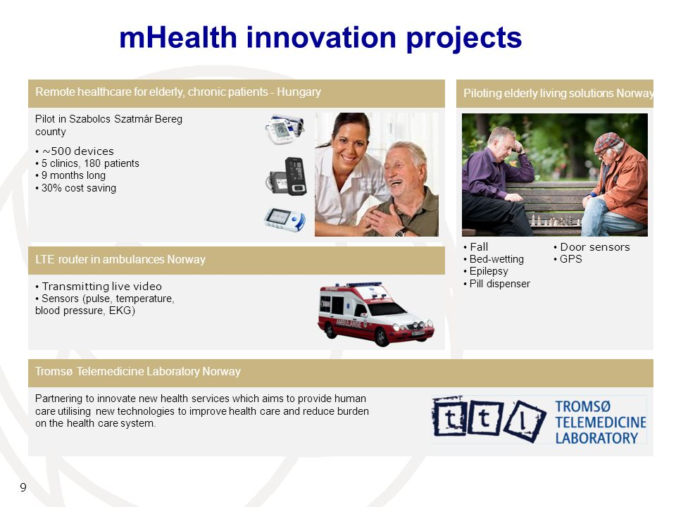 mHealth innovation projects 9 Remote healthcare for elderly, chronic patients - Hungary Piloting elderly living solutions Norway LTE router in ambulances Norway Tromsø Telemedicine Laboratory Norway Pilot in Szabolcs Szatmár Bereg county ~500 devices 5 clinics, 180 patients 9 months long 30% cost saving Fall Bed-wetting Epilepsy Pill dispenser Transmitting live video Sensors (pulse, temperature, blood pressure, EKG) Partnering to innovate new health services which aims to provide human care utilising new technologies to improve health care and reduce burden on the health care system.