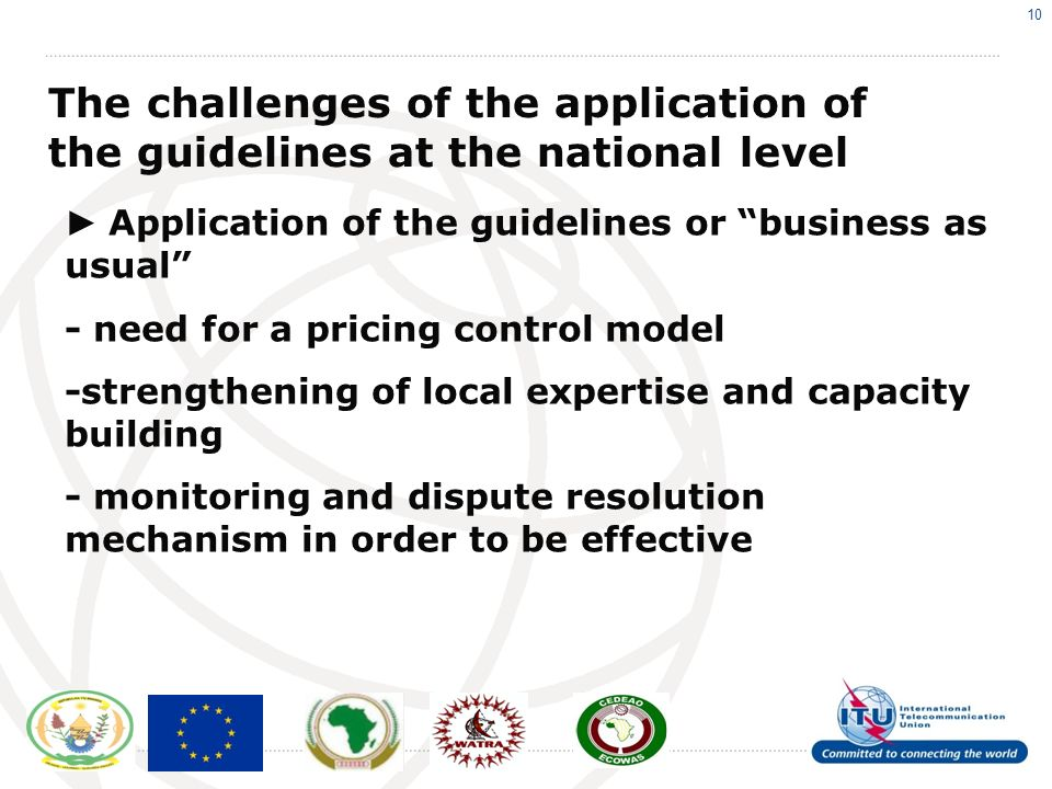 10 The challenges of the application of the guidelines at the national level Application of the guidelines or business as usual - need for a pricing control model -strengthening of local expertise and capacity building - monitoring and dispute resolution mechanism in order to be effective