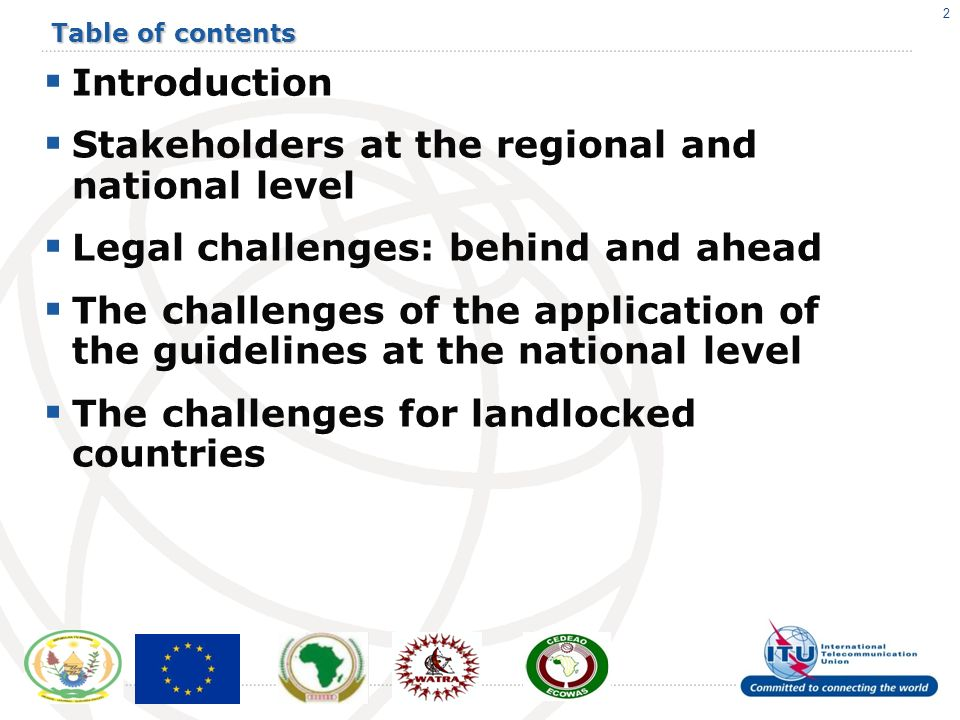 2 Table of contents Introduction Stakeholders at the regional and national level Legal challenges: behind and ahead The challenges of the application of the guidelines at the national level The challenges for landlocked countries